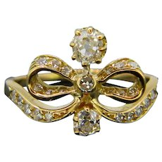 Antique Diamond Bow Ring, 18kt Yellow Gold, circa 1905