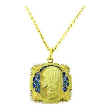 Antique Art Nouveau Plique a Jour Virgin Mary Pearl Border Medal by Monier, 18k gold,France circa 1900