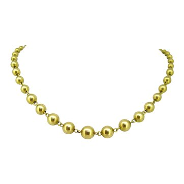 Graduated Gold Beads Necklace, 18kt yellow gold, France, circa 1940