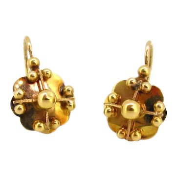 Antique Victorian Dormeuses Earrings, 18kt gold, France, circa 1880