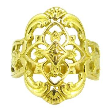 Antique Art Nouveau Openwork Ring, 18kt yellow gold, France, circa 1905