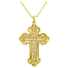 Pearl Openwork Cross Pendant by Perroud, 18kt Yellow Gold, France, circa 1930