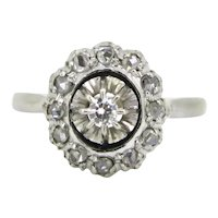 Diamonds Cluster Daisy Ring, 18kt white gold, France, circa 1930