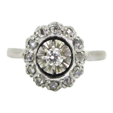 Diamonds Cluster Daisy Ring, 18kt white gold, France, circa 1930