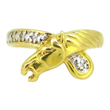 Vintage French Head's horse Diamonds ring, 18kt yellow gold
