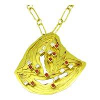 Vintage Modernist Layers Diamonds Coral Pendant by Paturzo, 18kt yellow gold, France, circa 1970