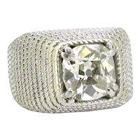 Retro 1.60ct Square Cushion Cut Diamond Signet Ring, Platinum, circa 1930