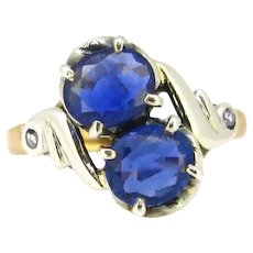 Art Nouveau Toi et Moi Sapphires and Rose cut Diamonds Ring, 18kt yellow gold and silver, circa 1900