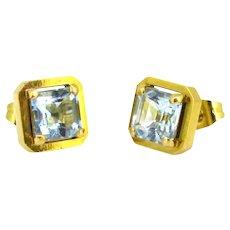 Vintage 1,90ct Aquamarine Studs Earrings, 14kt yellow gold