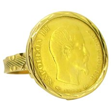 Vintage Retro Napoleon III Coin Sovereign Ring by Habrard et Fils, 18kt Yellow Gold circa 1950