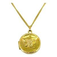 Antique Art Nouveau GALLIA locket pendant, France, 18kt yellow gold, circa 1905