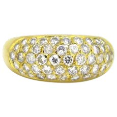 Vintage Medium Bombe Diamonds Pave Ring, 18kt yellow gold, France
