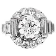 Art Deco 2.05ct Cut Diamond Cluster Ring, Platinum, France,  circa 1930