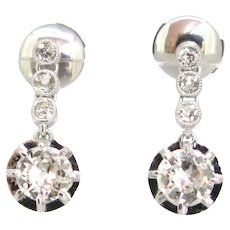 Antique Diamonds Dormeuses earrings, 18kt white gold and platinum, circa 1920