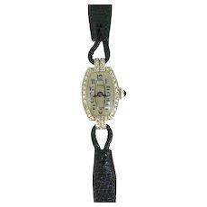 Art Deco Rose cut Diamonds Wristwatch, 18kt white gold, circa 1930, France by Bar