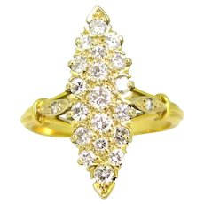 Vintage Marquise Diamonds Ring, 18kt yellow gold, France