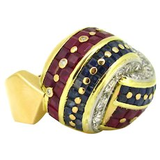 Modern Pave Bombe Diamonds Ruby and Sapphire Knot Ring, 18kt yellow Gold