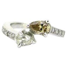 Modern Toi et Moi Pear Shape Diamonds Ring, 18kt white gold, France