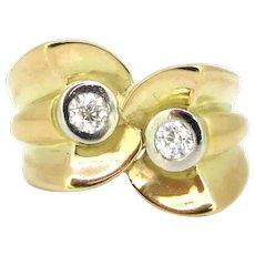 Retro Tank Diamonds Ring, 18kt gold and platinum, circa 1940
