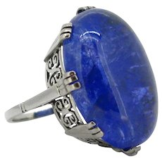 Important 41.35ct Cabochon Cut Tanzanite White Gold Ring, France, circa 1960