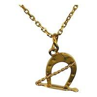 Antique Lucky Horseshoe Pendant Charm, 18kt Yellow Gold