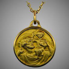 Vintage St Christophe Medal by Gruny, 18kt Yellow Gold, France