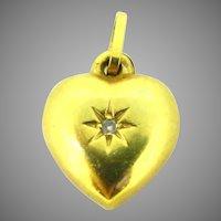 Vintage Heart Shaped Diamond Charm Pendant, 18kt Yellow Gold, France
