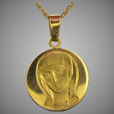 Vintage French Virgin Mary Pendant Medal, 18kt yellow gold by Becker, circa 1960