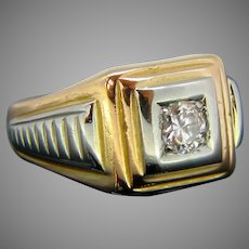 Vintage Diamond Signet Ring, 18kt Yellow and White Gold, circa 1940