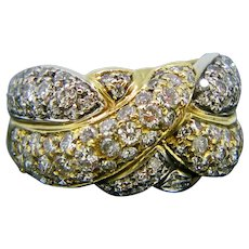 French Vintage Diamonds Ring, 18kt Yellow and White Gold