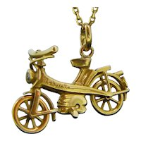 Vintage Mobylette Moped Pendant Charm, 18kt Yellow Gold
