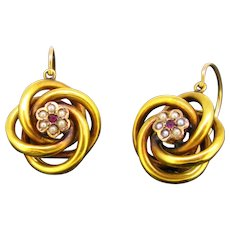 Antique Victorian Dormeuses Earrings, 18kt rose and yellow gold, circa 1880