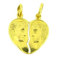 Couple Sharing Split Heart Pendants Love Charm, 18kt yellow gold