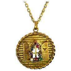 Vintage Multi Gemstones Pendant, 18kt Yellow Gold, circa 1970
