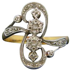 Antique Art Nouveau Rose Cut Diamonds Crossover Ring, 18kt gold and platinum