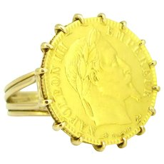 Vintage Retro Napoleon III Coin Sovereign Ring, 18kt Yellow Gold circa 1940