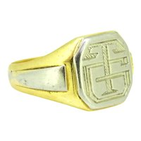 Vintage Signet Ring, 18kt Yellow and White gold, circa 1940