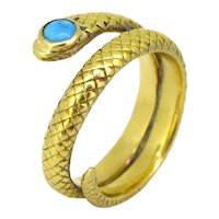 Victorian Turquoise Snake ring, 18kt gold, circa 1880