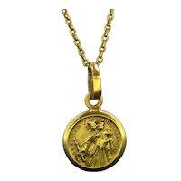 Vintage Virgin Mary Baby Jesus and Saint J Bosco Medal Pendant, 18kt Yellow Gold