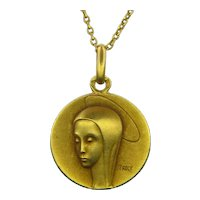 Vintage Virgin Mary Religious Pendant, 18kt Yellow Gold, France, Trecy