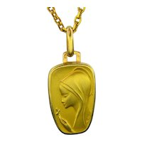 Vintage Saint Religious Pendant, 18kt Yellow Gold, France, by Gastaldi