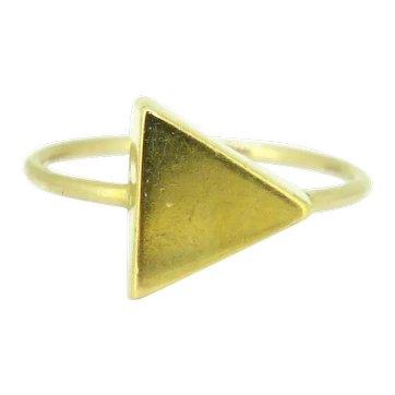 Vintage Geometric 18k Yellow Gold Triangle Ring, France, circa 1960