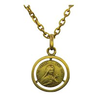 Vintage St Theresia A Jesu Infante, 18kt Yellow Gold, France, circa 1930