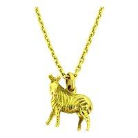 Vintage Zebra Charm Pendant, 18kt Yellow Gold