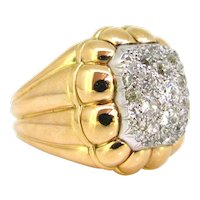 Important Retro Pave Diamonds Ribbed Bombe Ring, 18kt yellow gold and platinum, France, circa 1940