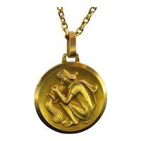 Vintage Aquarius Zodiac Pendant, 18kt Yellow Gold, circa 1960
