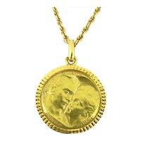 Vintage French Love Le cœur ne vieillit jamais Medal, 18kt gold by MONIER
