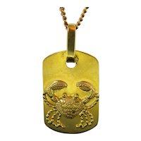 Vintage Cancer Zodiac Pendant, 18kt Yellow Gold, circa 1960