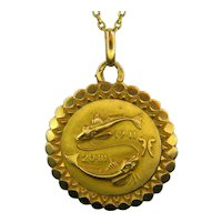 Vintage Pisces Zodiac Pendant, 18kt Yellow Gold