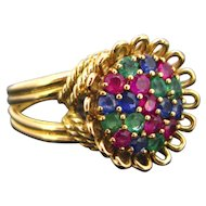 French Retro Multigem ring, 18kt gold, circa 1950, France